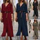 Long Sleeve Maxi Shirtdress With Waist Belt