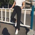 Cropped Asymmetric Hem Dress Pants