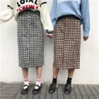 Plaid Slit-front Midi Skirt