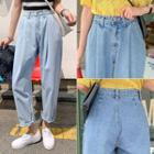 Pleated Distressed Baggy Jeans