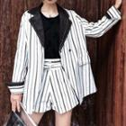 Striped Double Button Long Blazer
