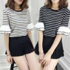 Striped Ruffle Short-sleeve T-shirt