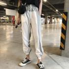 Drawstring Panel Jogger Pants As Shown In Figure - One Size