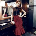 Ruffle Lace Pencil Skirt