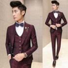 Set: Printed Blazer + Vest + Dress Pants