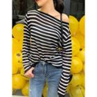 Loose-fit Boatneck Striped Light Top