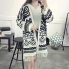 Patterned Fringe Hem Long Cardigan