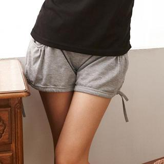 Drawstring-hem Cotton Shorts