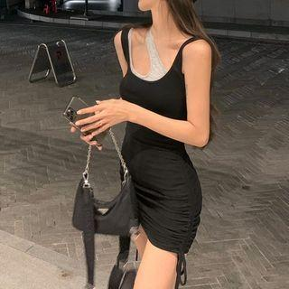 Mock Two Piece Sleeveless Cutout Drawstring Dress Black & Gray - One Size