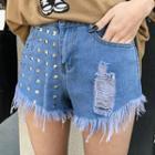 Studded Fringed Denim Shorts