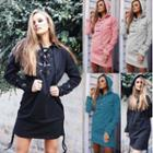 Long Sleeve Lace-up Hooded Dress