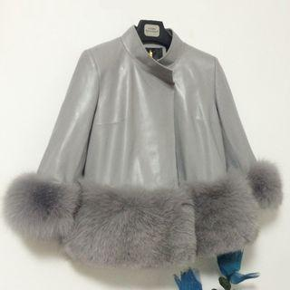 Faux Leather Furry Panel Jacket As Shown In Figure - One Size