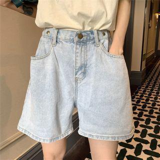 Wide-leg Straight Cut Denim Shorts