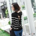 Striped Cutout-back Knit Top