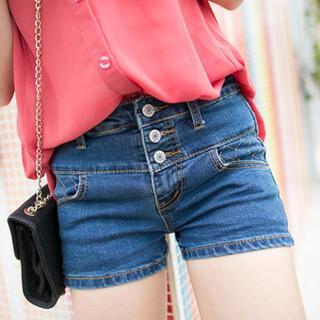 Button-front Denim Shorts