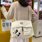 Panda Embroidered Canvas Messenger Bag