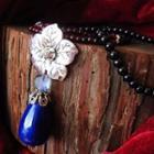 Ceramic Drop Silver Flower Pendant Necklace