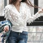 Applique Buttoned Chiffon Top