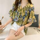 Short-sleeve Cold Shoulder Floral-print Top