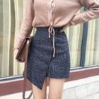 Asymmetric Plaid Pencil Skirt