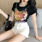 Sequined Panel Short Sleeve Top