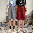 Check High-waist Shorts