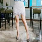 Lace Cotton Mini Skirt
