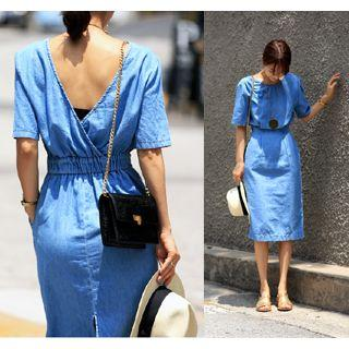 Round-neck Denim A-line Dress