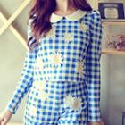 Long-sleeve Check Rosette Cropped Top