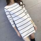 Striped Long Sleeve Mini Knit Dress