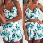 Set: Printed Cropped Camisole Top + Shorts