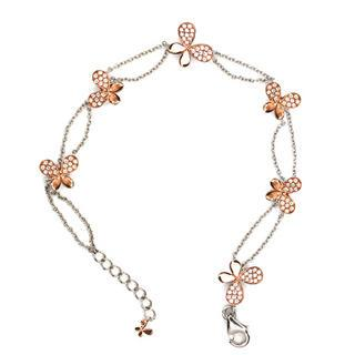 Silver 925 + Rose Gold Plate Butterfly Bracelet Rose Gold - One Size