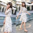 Elbow-sleeve Floral Print A-line Chiffon Dress