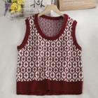 Contrast Trim Patterned Sleeveless Knit Top Red - One Size