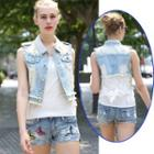 Distressed Lace Panel Denim Vest