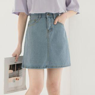 A-line Denim Skirt - High-waist