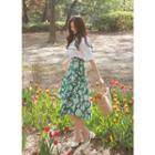 Floral Print Flared Cotton Skirt