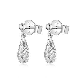 14k White Gold Diamond-cut Buff Drop Style Drop Shaped Stud Earrings