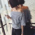 Short-sleeve Off-shoulder Striped Top