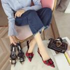 Check Slingback Pointed Pumps