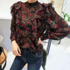 High-neck Ruffled Floral Chiffon Blouse
