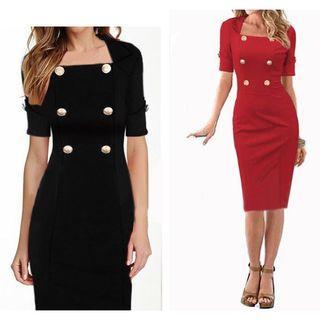 Elbow-sleeve Buttoned Sheath Dress