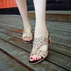 Faux-leather Rhinestone Slide Sandals