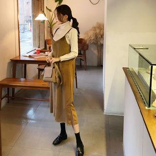 Pinafore Velvet Maxi Dress
