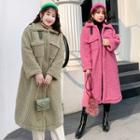 Snap Button Midi Fleece Coat