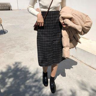 Plaid A-line Skirt Plaid - Coffee - One Size