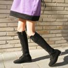 Square-toe Lace-up Tall Boots