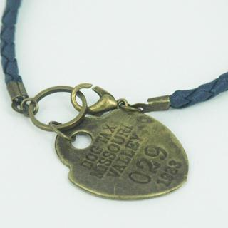 Blue Leather Charms Bracelet One Size