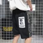 Striped Trim Applique Shorts