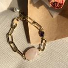 Faux-gem Linked Bracelet Gold - One Size